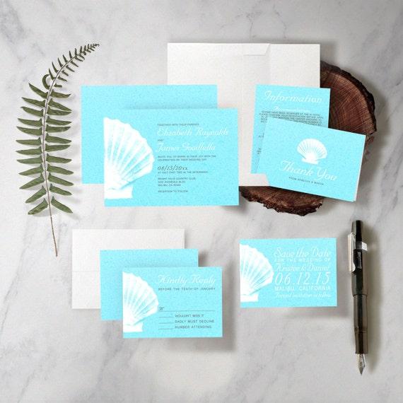 Etsy Beach Wedding Invitations: Items Similar To Elegant Beach Seashells Destination