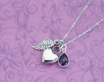 Mini Amethyst Memorial Pendant with Angel Wing - Cremation Jewelry - Engraved Jewelry - Urn Necklace - Pet Memorial - Ash Necklace