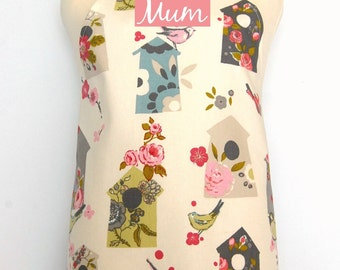 Personalized Adult Apron, Ladies Full Apron, Mom Gift, Sister Apron, Aunt Apron, Custom Name Apron, Bird Fabric, Mother's Day Apron Gift