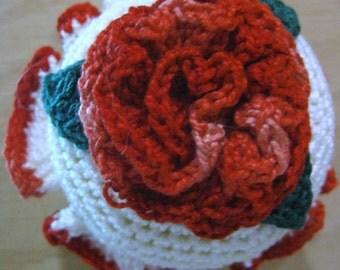 Crochet red rose