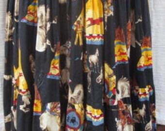 """30"""" Waist Vintage Western  Broom Skirts Cotton"""