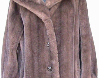 Medium/Large Button Up Faux Fur Coat with Full Collar