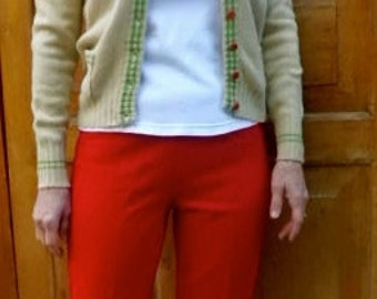 JANTZEN RED WOOL Pants with side zipper fully lined