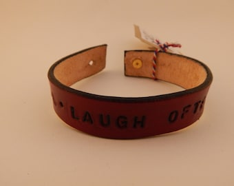 "red leather ""live well, laugh often, love much"" bracelet / cuff"
