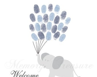 Baby Shower Guest Book Alternative Elephant Thumbprint Guestbook Elephant Fingerprint Guestbook Elephant Baby Shower Thumbprint Elephant