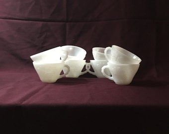 Anchor Hocking | Milk Glass Punch Cups | Grapes and Leaves | Set of 8