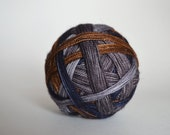 """Dyed to Order: """"Lupin (4 color self-striping)"""" - Brown, Dark Midnight Blue, Light Gray, Medium Gray Stripes"""