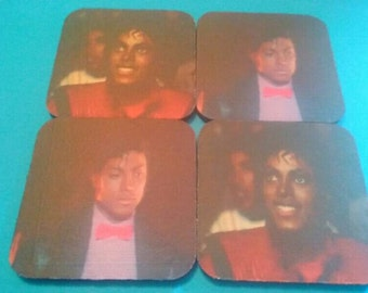 Set Of Four Rubber Michael Jackson Coasters, Drink Coasters, Michael Jackson, 1980s Coasters, Made By Mod.
