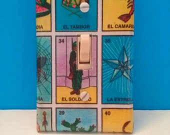 La Loteria Decoupaged Light Switchplate Cover, Handmade Switchplate, Loteria, Single Switchplate, Wall Art, Made By Mod.