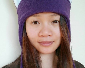 Purple Fox Hat - Fox Cat Fleece Hat - Fox Aviator Hat - Animal Earflap Hat - Animal Hat - Fox Cosplay Hat - Anime Hat - Christmas Gift Idea
