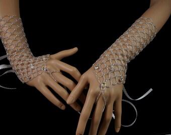 Swarovski crystal beaded gloves. silver Czech glass long beaded finger loop gloves. long beaded bridal gloves. beaded silver wedding gloves