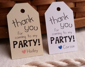 25 Thank You for coming to my Party Tags, Party Favor Tags, Cute Custom Party Favor Tags