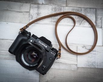Rivet Free Leather Camera Strap, Black Leather Camera Strap, Brown Leather Camera Strap, Thin Leather Camera Strap,