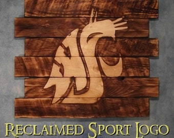 Washington State University, Cougars, WSU FREE UV protector, 30X23, Burnt wall hanging, Shou Sugi Ban, Charredwood, Rustic, Wood Sports sign