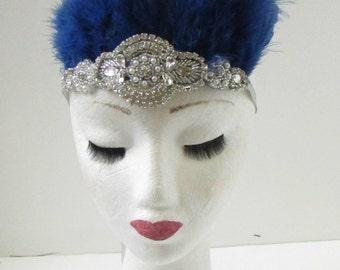 Navy Blue & Silver Feather Headdress Headband 1920s Showgirl Carnival Samba 9AK