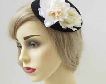 Black Cream Peony Flower Pillbox Hat Fascinator Races Rockabilly 1950s Vtg 202