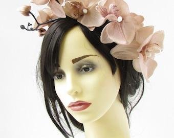 Beige Fawn Orchid Flower Fascinator Headband Headpiece Light Brown Hair Vtg 782