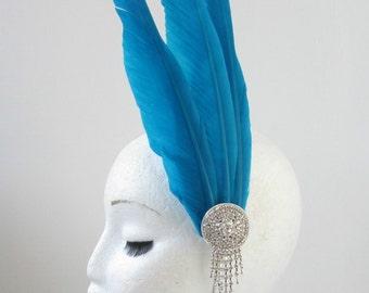Turquoise Blue Silver Feather Headpiece Fascinator Headband Vintage Races V84