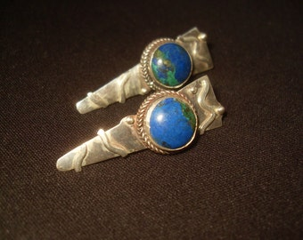 Lapis and Sterling Silver Hand Made 1970's One of a Kind Earrings