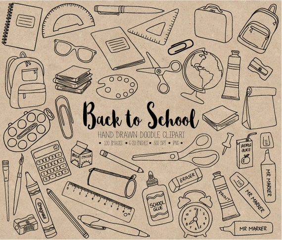 Back To School Clipart. Hand Drawn Digital School, Teacher ...