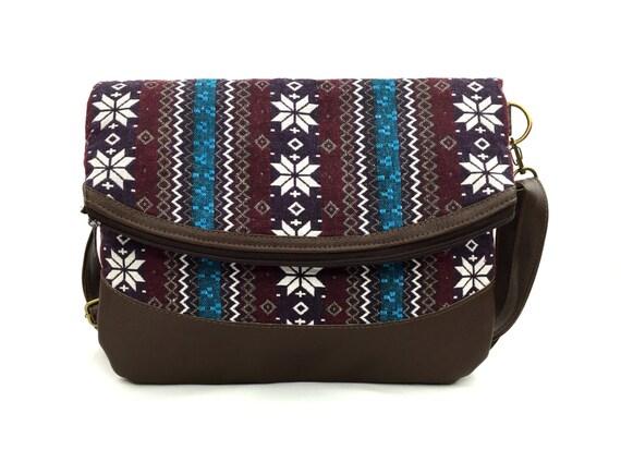 Hipster Foldover crossbody bag, Flower Aztec Leather Clutch Oversize Ethnic Leather bag w/ Tribal fabric, Handmade Native bag, burgundy blue