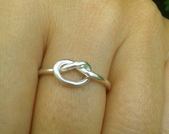 Sterling Silver Knotted Ring, Silver Midi Rings, Promise Ring, Stackable Rings, bridesmaid jewelry, Free Shipping, Sisters Gift, cool gifts