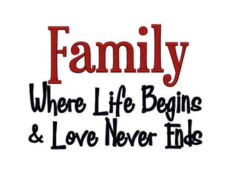 Family where Life begins and Love never ends 2. Instant Download Machine Embroidery Design. 4x4 5x7 6x10