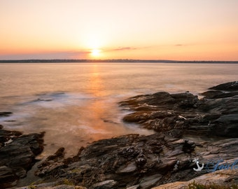 Beavertail Sunset ~ Jamestown, Rhode Island, Lighthouse, New England, Ocean, Coastal, Seascape, Art, Photograph, Beach Roses, Sunset