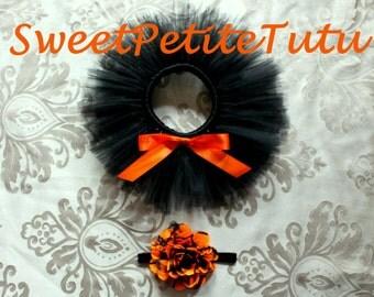 Black and orange tutu set, Halloween tutu set, Tutu with matching headband, Fall tutu set, Baby Halloween, Preemie tutu, newborn tutu and up