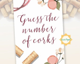 Guess the number of corks Bridal Shower Game Sign