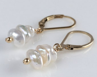 Bridal Earrings 2017 - Freshwater Pearl Earrings - Keshi Pearl Earrings - Available in Gold, Silver and Rose Gold