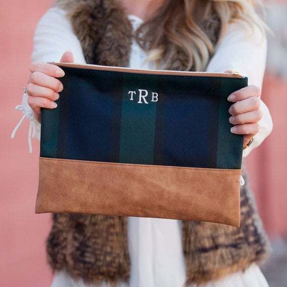 Monogram and leather clutch