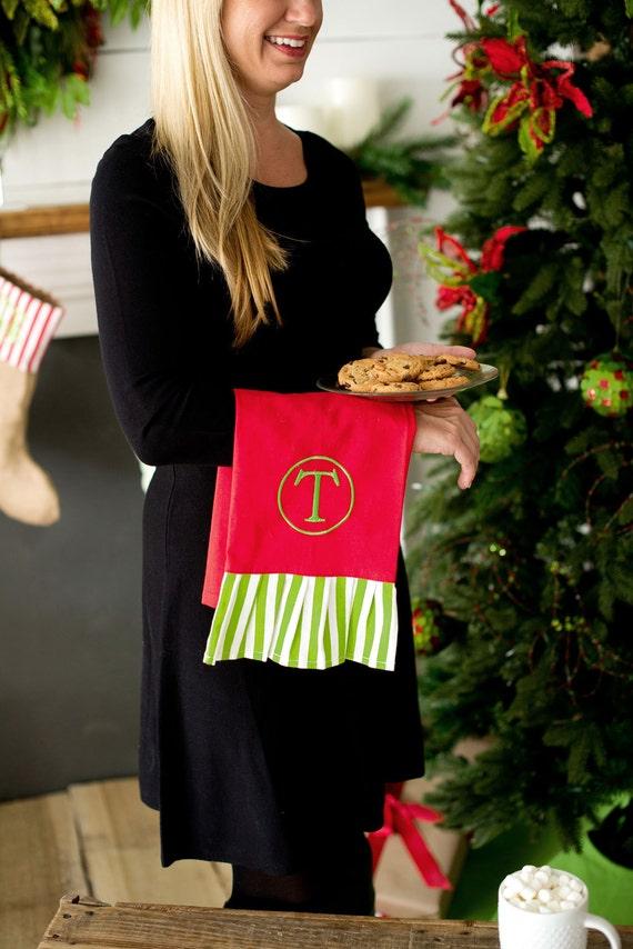 Christmas Kitchen Towel, Monogrammed Christmas Kitchen Towel, Christmas Hand Towel, Red and Green Tea Towel, Christmas Decor, Hostess Gift