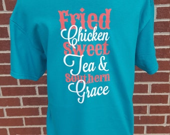 Monogrammed Fried Chicken Sweet Tea And Southern Grace. Monogrammed Shirt. Southern. Southern Sayings. Monograms. Southern Girl. Monogram.