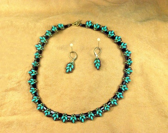 Delicate Turquoise, Black and Copper Necklace Set
