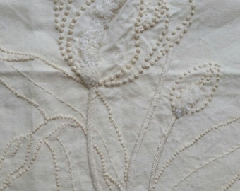 Hand embroidered cushion cover panel/ calico/ tulip motif/ beautiful