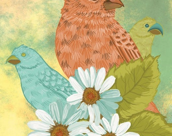 """11x14 Illustration Print """"Darwin's Finches"""" by Leanna Maltese"""