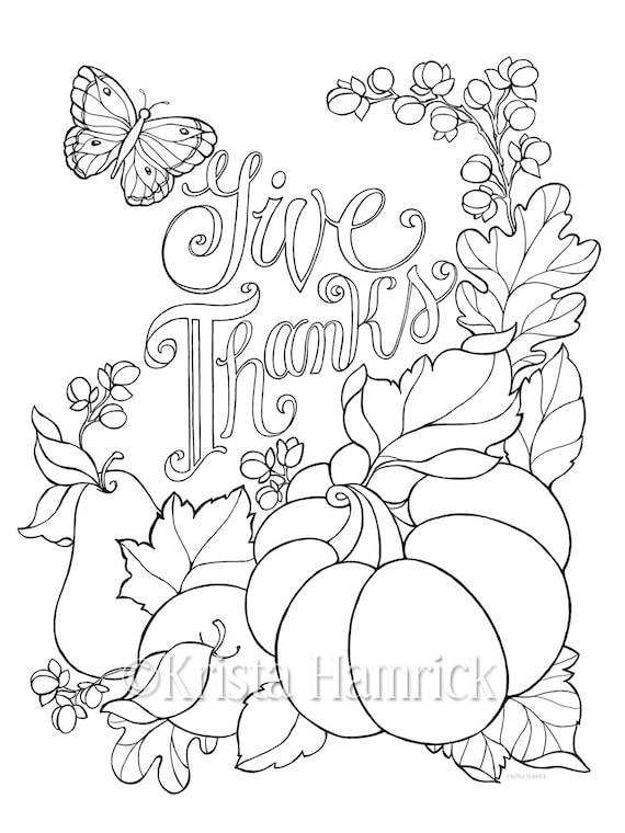 Give Thanks coloring page in two