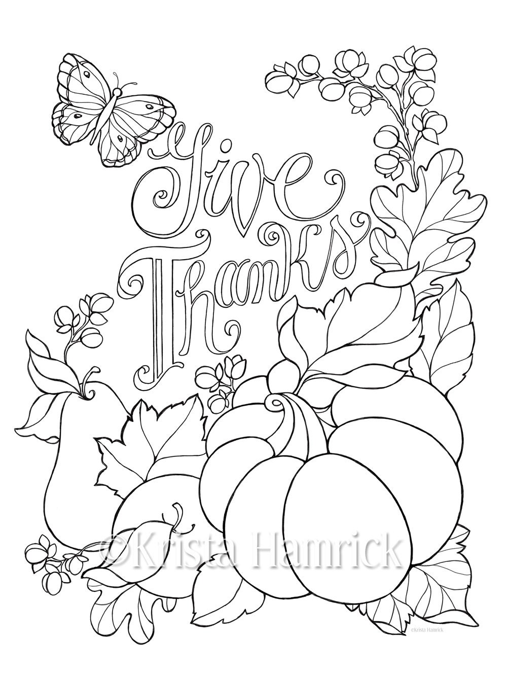 Give Thanks coloring page in two sizes: 8.5X11 and Bible