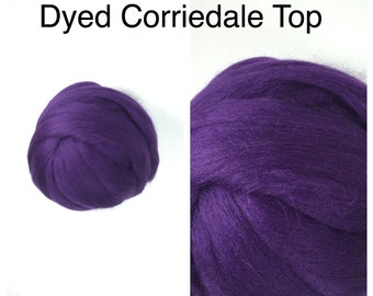 Eggplant Corriedale Top / Dyed Corriedale Roving / Corriedale Felting / Spinning Fiber / 2oz 4oz 8oz