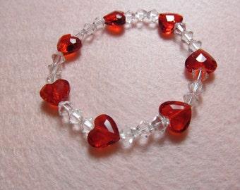 "Swarovski ""Love Bead"" and Clear Bicone Stretch Bracelet"