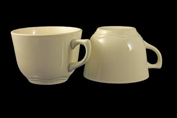 Coffee Cups, Tea Cups, Set of 2, Cream Colored, USA Backstamp, Basic Cups, Plain Cups