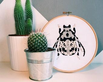 Onychocerus Albitarsis Beetle Embroidered Hoop