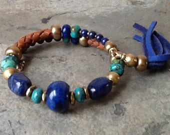 Lapis with Turquoise and Leather Bangle Memory Wire Bracelet