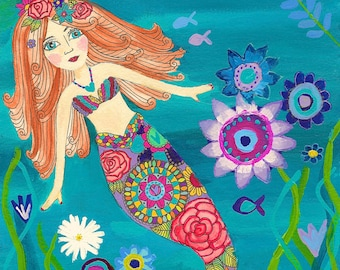 Under the Sea/Mermaid Art/Mermaid Print/A4