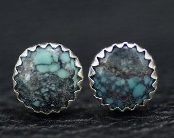 8mm Turquoise and Sterling Silver Stud Earrings