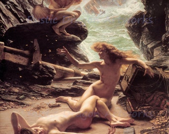 """Edward Poynter """"Cave of the Storm Nymphs"""" Nude Ocean Ship Wreck 1903 Reproduction Digital Print Vintage Print Wall Hanging"""