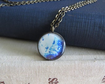 Blue Dye Necklace / Blue Dye Swirls Necklace / Swirl Necklace / Pattern Necklace / Antiqued Bronze Necklace / Photograph Necklace