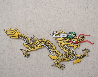 Large Chinese Dragon - Yellow/Gold - Facing Left or Right - Embroidered Patch - Iron on Applique - 682855