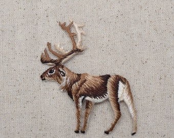 Natural Elk - Caribou - Reindeer - Facing Left - Embroidered Patch - Iron on Applique - 28422A